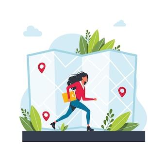 Kobieta biegnie w kierunku geolokalizacji. aplikacja usługi nawigacji gps. mapy, metafory dojazdu. ilustracje wektorowe koncepcja na białym tle metafora. uzyskaj wskazówki dotyczące abstrakcyjnej koncepcji