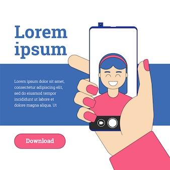 Kobieta Bierze Selfie Na Nowożytnym Smartphone Z Pchającym Selfie Kamerą. Premium Wektorów