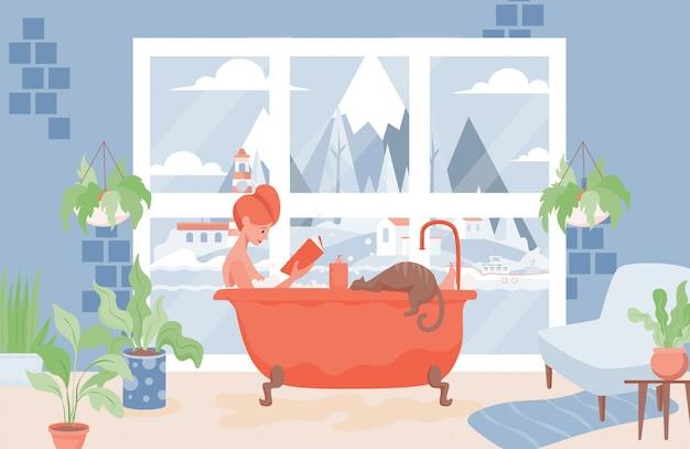 Kobieta bierze skąpanie i czyta książkową ilustrację. relaks podczas koncepcji procedury higienicznej lub spa.