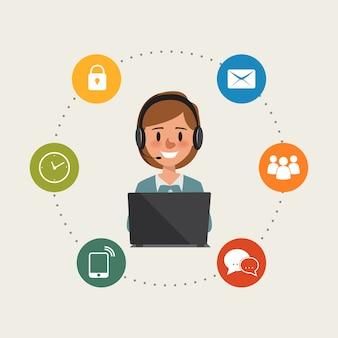 Kobieta biznesu do infografiki obsługi klienta