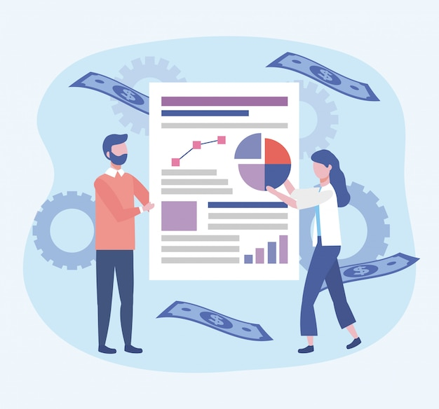 Kobieta biznesu i działalności człowieka z diagramu informacji o dokumencie