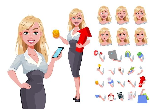 Kobieta biznesu, paczka części ciała, emocji i rzeczy