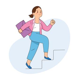 Kobieta biznesu szczęśliwie wspina się po schodach