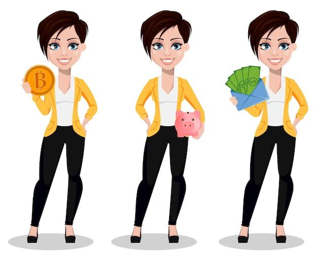 Kobieta biznesu, wolny strzelec, bankier, zestaw trzech poz