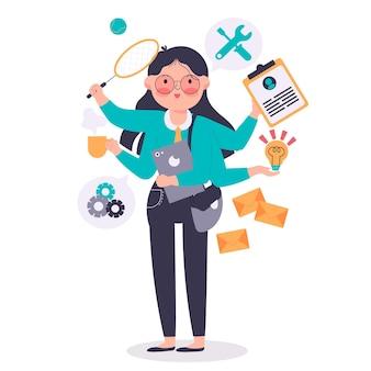 Kobieta biznesu wykonująca różne zadania w tym samym czasie