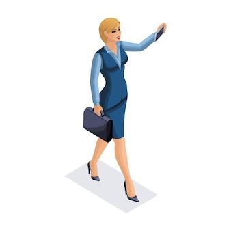 Kobieta biznesu z gadżetami, młody przedsiębiorca, robienie zdjęć sobie, smartfon, robi wideo, ilustracja