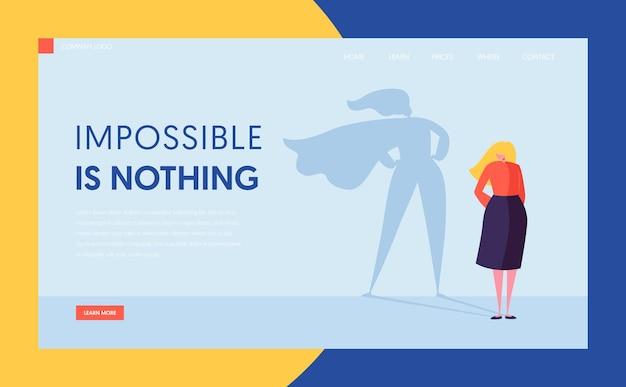 Kobieta biznesu z sylwetka cienia płaszcza superbohatera. szablon strony docelowej witryny