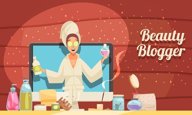 Kobieta blogerka urody opowiadająca o kreskówce produktów do pielęgnacji twarzy i włosów