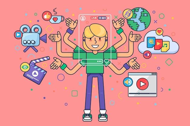 Kobieta blogger styl życia ilustracja koncepcja półpłaska. narzędzia do produkcji transmisji online. europejska postać z kreskówki dziewczyna robi transmisję na żywo. rysunek koloru na białym tle