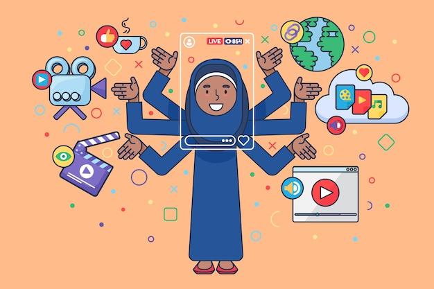 Kobieta blogger styl życia ilustracja koncepcja półpłaska
