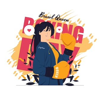 Kobieta bokser w żółtych rękawiczkach pozuje do walki i treningu na ilustracjach koncepcji dnia boksu