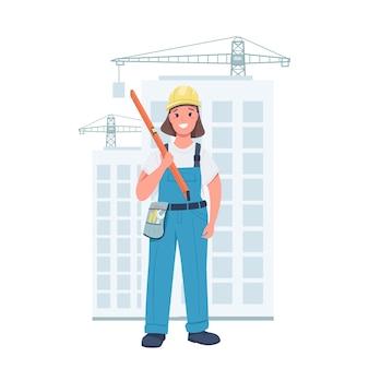 Kobieta budowniczy płaski kolor szczegółowy charakter. wesoła pani ubrana w mundur roboczy. kobieta na budowie ilustracja kreskówka na białym tle do projektowania grafiki internetowej i animacji