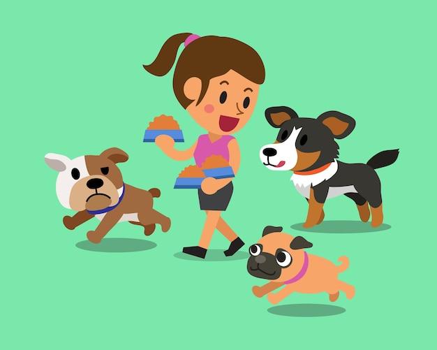 Kobieta cartoon karmienia psów