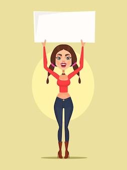 Kobieta charakter protest wektor ilustracja kreskówka płaski