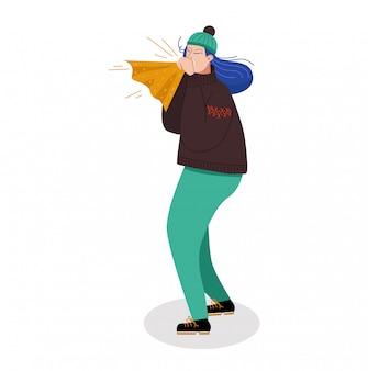 Kobieta charakteru pozycja kicha chusteczkę, żeński chory zimno na białym, ilustracja. osoba kaszle słabe zdrowie.
