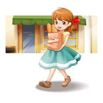 Kobieta chodzi niesie torbę chleb, wektorowa ilustracja