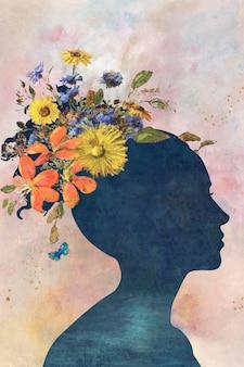 Kobieta cień z kwiatami na tle obrazu