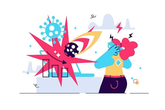 Kobieta cierpi na atak paniki z epidemią i meteorem
