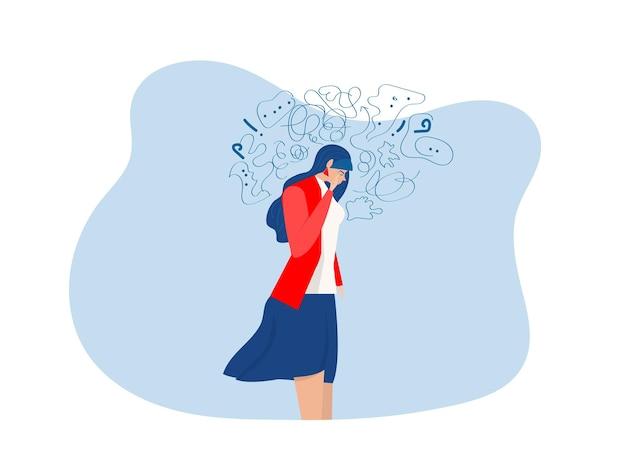 Kobieta cierpi na obsesyjne myśli, depresję, stres psychiczny, panika, zaburzenia umysłu, ilustracja wektorowa