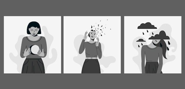 Kobieta cierpi na różne zaburzenia psychiczne zestaw