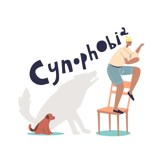 Kobieta cierpiąca na cynofobię, strach przed psami