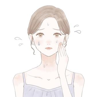 Kobieta cierpiąca na hiperperspirację. na białym tle. ładny i prosty styl artystyczny.