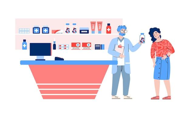 Kobieta coraz leki w drogerii płaskie wektor ilustracja na białym tle