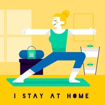 Kobieta ćwiczy w domu samotnie