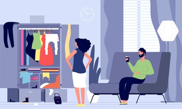 Kobieta czeka mężczyzna. rodzina idzie na spacer, wieczorna randka. dziewczyna nie ma w co się ubrać. kobieta stoi przed szafą, mąż siedzi na kanapie i pije kawę w salonie