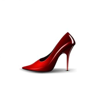 Kobieta czerwony but odizolowywający na bielu