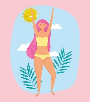 Kobieta cześć letnie wakacje