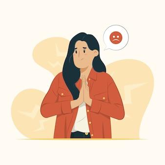 Kobieta czuje się przykro ilustracja koncepcja