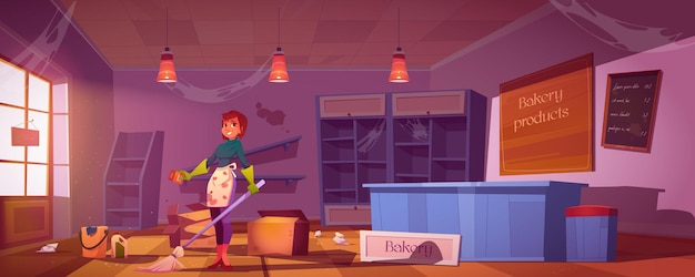 Kobieta czyści brudną piekarnię sklep z pustymi półkami, bałaganem i śmieciami