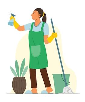 Kobieta czyści podłogę mopem i sprayem