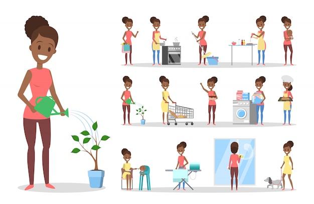 Kobieta czyszczenia domu i robi zestaw prac domowych. gospodyni domowa wykonuje codzienne czynności domowe. ilustracja