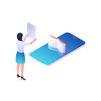 Kobieta czyta ilustrację izometryczną książki online adnotacji. postać kobieca z kartką papieru studiuje opisy książek w internetowej bibliotece aplikacji. nowoczesna koncepcja e-learningu.