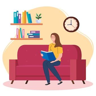 Kobieta czyta książkę w domu projektu tematu aktywności i wypoczynku