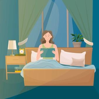 Kobieta czyta książkę w sypialni.