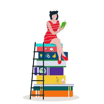 Kobieta czyta, siedząc na stosie dużych książek. miłośnicy książek. wektor