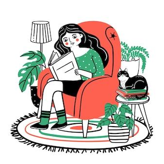 Kobieta czyta w fotelu. szczęśliwa zrelaksowana dziewczyna czytająca książkę w wygodnym fotelu w domu. miłośniczka książek z roślinami i kotem. ręcznie rysowane koncepcja wektor. kobieta czyta książkę w fotelu z ilustracją kota