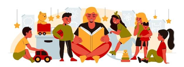Kobieta czytająca dzieciom bajkę