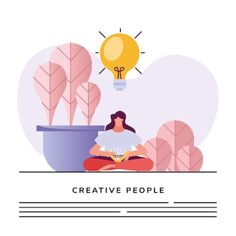 Kobieta czytająca książkę i projekt ilustracji twórczej postaci żarówki