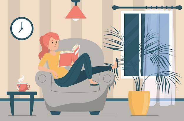 Kobieta czytająca książkę. postać kobieca siedząca w fotelu