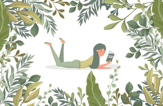 Kobieta czytająca książkę w otoczeniu zielonych liści płaskiej ilustracji. szablon ramki kwiatowy granicy.