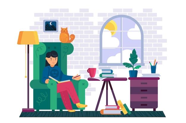 Kobieta czytająca książkę w pokoju biblioteki domowej