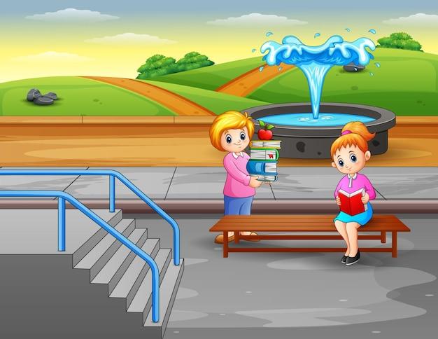 Kobieta czytająca książki w parku z ilustracją fontanny