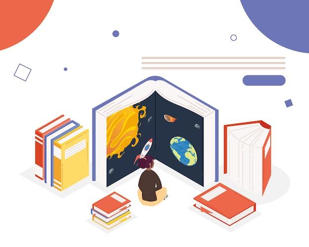 Kobieta czytająca książki z biblioteki wszechświata, projekt ilustracji obchodów dnia książki