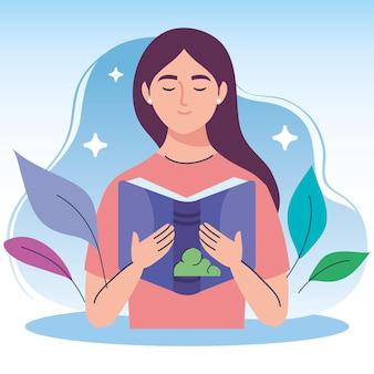 Kobieta czytająca podręcznik i charakter liści