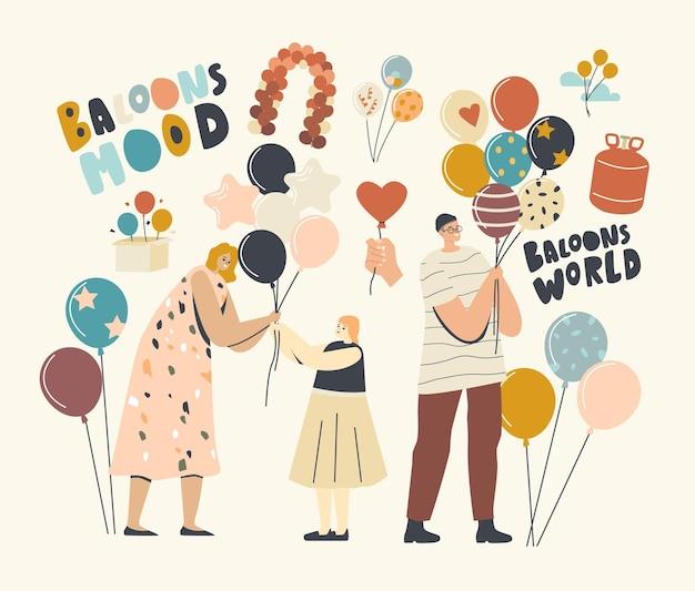 Kobieta daje balon do małej dziewczynki, męskich i żeńskich postaci dorosłych posiadających balony z helem, rozrywka z animatorem, obchody urodzin, koncepcja dzieciństwa. ilustracja wektorowa ludzi liniowych