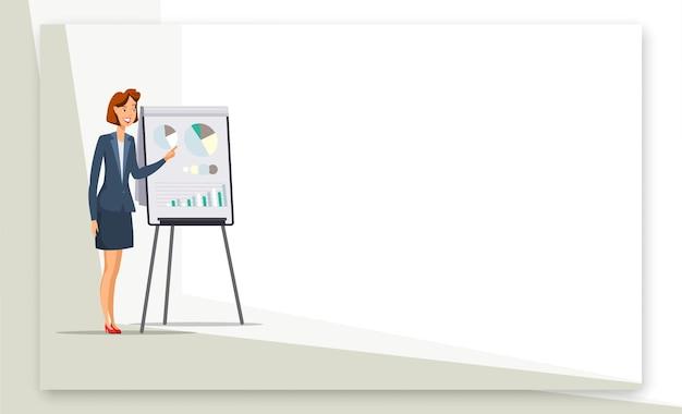 Kobieta daje prezentację baneru internetowego.